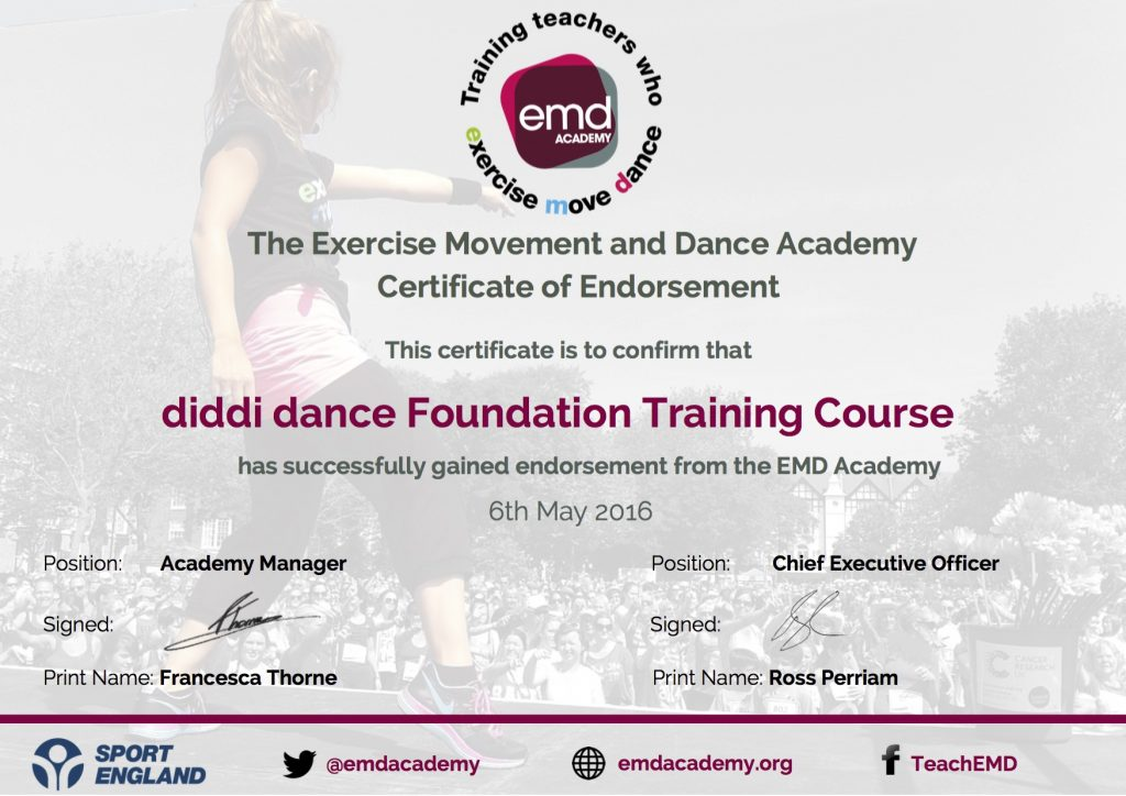 diddi dance EMDP Endorsement Cerificate