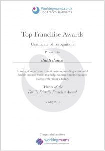 diddi dance Top franchise awards certificates